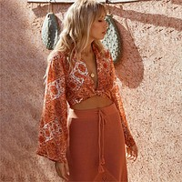 Kaleidoscope Print Blouse Shirt Lace Up V-Neck Wrap Top Bell Sleeve Casual Women Shirt Boho Beach Crop Top Blouses Blusas