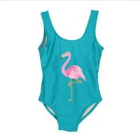 Funfeliz Flamingo Swimsuit for Girls 2-8 Years One Piece Girls Swimwear Cute Unicorn Kids Swimming Suit Children Bathing suits