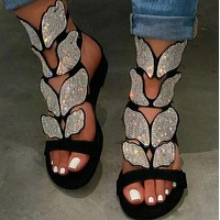 New style hot sale flat butterfly rhinestone sandals