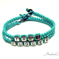 Teal Tree Hugger Bracelets, Set of Two, Hemp Jewelry for Tree Lovers and Environmentalists