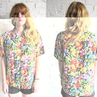 Vtg 90s Silk Floral Button Down Grunge Shirt by AndVintageClothing