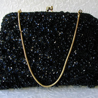 Black Beaded Evening Bag by Encore Formal Bead Sequin Clutch Loop Fringe Purse Gold Frame Kiss Clasp Vintage Handmade Handbag Hong Kong