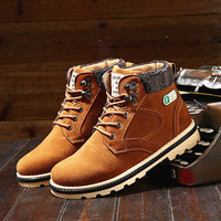 Hot Sale  Fashion  Men Solid Warm Winter Boots Keep warm Male Casual PU Thick Plush Mens Snow Martin Boots Lace up Shoes