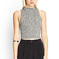 FOREVER 21 Cropped Sweater Tank Grey/Cream Large