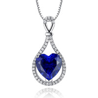 Sterling Silver 4.5ct Heart Shape Sapphire Pendant Necklace