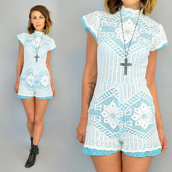 vintage CROCHET LACE turquoise polka dot ROMPER Onesuit playsuit, extra small-small