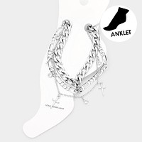 3Pcs - Cross Metal Chain Layered Anklets