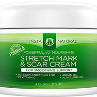 InstaNatural Stretch Mark & Scar Cream - Formula for Scar Removal & Prevention for Men & Women - Natural & Organic Moisturizing Body Cream Treatment - Great for Before & After Pregnancy - 4 OZ