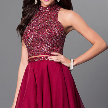 Burgundy Two-Piece Open Back Homecoming Dress