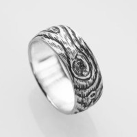 woodgrain ring PLYWOOD sterling size 675 by ballandchain on Etsy