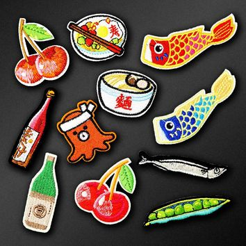 Fish Sushi Food Iron On Patch Clothing Embroidered Sewing Applique Sew On Fabric Badge Apparel Accessories Patches