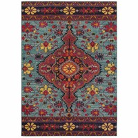 Oriental Weavers Bohemian Blue Pink Oriental Medallion Traditional Rug