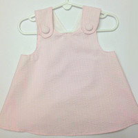 Girl's Pink Seersucker Criss-Cross Pinafore Dress for Baby and Toddler