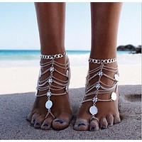 One Pcs Fashion Chain Anklet Bracelet Foot Ankle Women Lady Jewelry Elegant (With Thanksgiving&Christmas Gift Box)= 4672524356