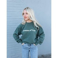 Woman of God Alpine Green Crewneck