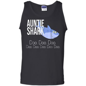 """""""Auntie Shark"""" Baby Mommy Daddy Matching Family Shark  Tank Top"""