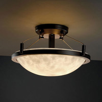 Justice Design Group CLD-9680-35-DBRZ-LED-2000 Clouds Ring 14-Inch Two-Light Dark Bronze Round 2000 Lumen LED Semi-Flush Mount With Ring