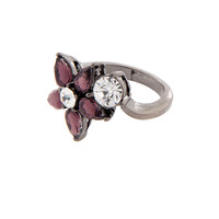 Purple Flower Crystal Ring