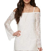 LA Hearts Off Shoulder Bell Sleeve Lace Dress - Womens Dress - White