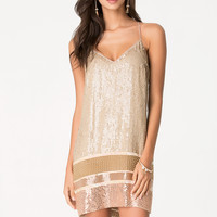 bebe Womens Bead & Sequin Shift Dress Nomad