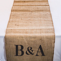 "Opentip.com: Weddingstar 9422-P-1218-92 Personalized Long Burlap Table Runner with Equestrian Monogram - (120"" / 3.0m long)"