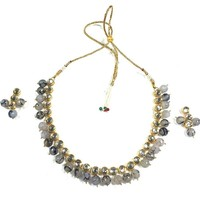 Mogul Choker Necklace Earring Set Goldtone Kundan Grey Agate Jewelry for Women