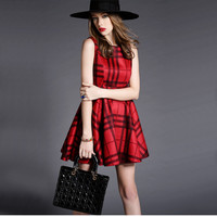 Plaid Skater Dress in Red or Brown