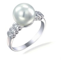 Vir Jewels Sterling Silver in Fashion Ring (10 MM Glass Pearl)