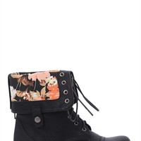 Combat Boot with Floral Fold Over Cuff and Lace Up Front