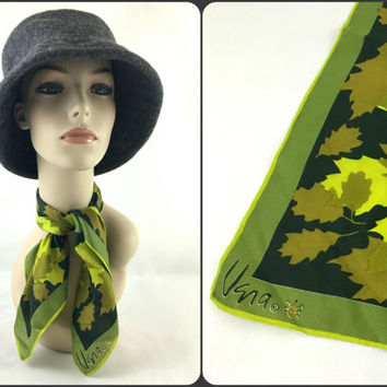 Vintage Vera Neumann Shades of Green Square Silk Neck Scarf, Camouflage Leaf Scarf, Falling Leaves Silk Bandana, Lucky Ladybug Signature