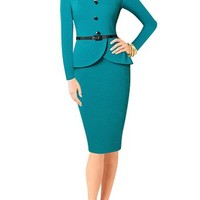 Senfloco Women's Vintage Long Sleeve Office Work Business Party Bodycon Dress