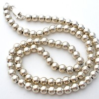 """Sterling Silver Bead Necklace 16"""" Vintage"""