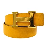 Auth HERMES Constance H Buckle Reversible Belt Yellow Brown Couchevel #70 V21086