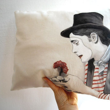 Romantic french mime clown pillow circus act hand painted throw pillow accent pillow cushion
