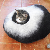 Cat Bed Cat Cave Cat House Felted Wool Black and White with toy ball for cats