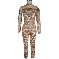 Champagne Sequins Print High Neck Long Sleeve Elastic Long Jumpsuit