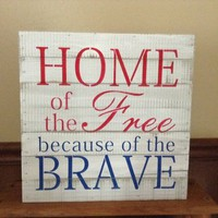 Memorial Day Decoration, Primitive Country Rustic July 4th Decor, Veteran's Day Wood Sign, Red White & Blue Patriotic Americana Pallet Art