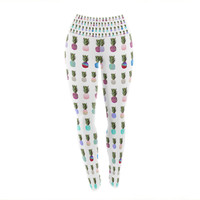 "Monika Strigel ""Pineapple People"" White Multicolor Yoga Leggings"