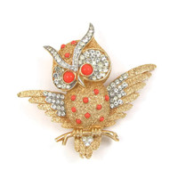 Rare Trifari Owl Brooch - Coral Cabochon & Pave Rhinestones, Signed 1960s Owl Pin, Florentine Trifanium Finish, Excellent Condition