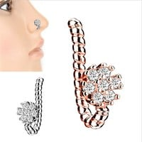 Flower False nose Ring Earring Body Piercing Fake Septum Rings And Studs Fake Nose Rings For Women Ear Clip Non Piercing Jewelry