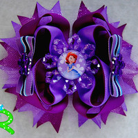 Sofia the first hair bow, sofia ott bow , Disney princess boutique hair bow , layered hair bow for girls