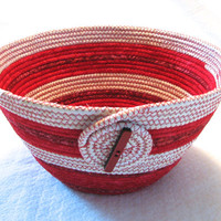 Red and Cream Coiled Fabric Bowl, Valentine Decor