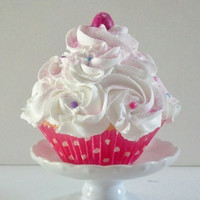 Gumdrop Fake Cupcake with White Swirly Frosting and Colorful Sprinkles, Cupcake Photo Props, Home Accents, Party Decor