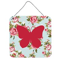 Butterfly Shabby Chic Blue Roses Wall or Door Hanging Prints BB1047