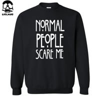 top quality cotton blend NORMAL PEOPLE SCARE ME print men hoodies crewneck mens hoodies and sweatshirts 2017 C01