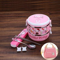 Hello Kitty Doraemon Minions Cartoon Cute Children Lunchbox Thermal Leak-Proof Stainless Steel Plastic Food Container Bento Box