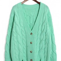 Mint Classic Cable Knit Cardigan by Chic+ - New Arrivals - Retro, Indie and Unique Fashion