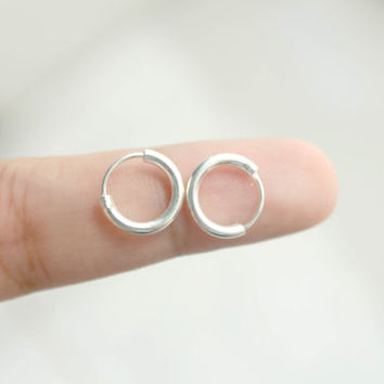 12 mm silver Hoop Earrings - Sterling silver hoop earrings, Cartilage Hoop Earrings - Minimalist hoop Earrings, Tragus Earrings, Helix studs