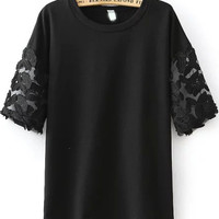 Black Floral Sheer Mesh Short Sleeve Shirt