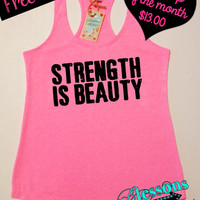 Tank Top of the Month. Strength is Beauty. Motivational Workout Clothes. Fitness Tank. Gym Tank. Free Shipping USA